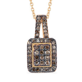 Natural Champagne Diamond (Rnd) Pendant With Chain (Size 20) in 14K Gold Overlay Sterling Silver 0.3
