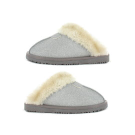 Ella Sparkle Supersoft Faux Fur Mule Slipper in Silver Colour
