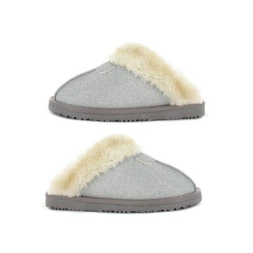 Ella Sparkle Supersoft Faux Fur Mule Slipper (Size 7) - Silver