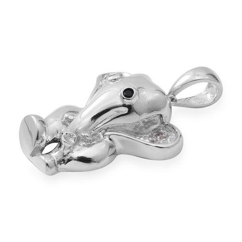 ELANZA Simulated Diamond (Rnd), Boi Ploi Black Spinel Elephant Pendant in Rhodium Overlay Sterling Silver