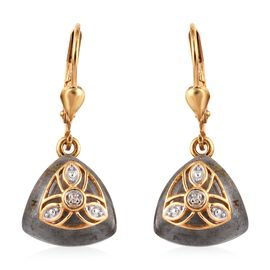 13.25 Ct Bokonaky Fire Labradorite and Diamond Drop Earrings in Gold Plated Silver