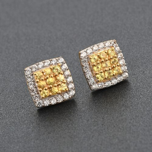 Yellow Sapphire and Natural Cambodian Zircon Earrings (with Push Back) in 14K Gold Overlay Sterling Silver 1.50 Ct.