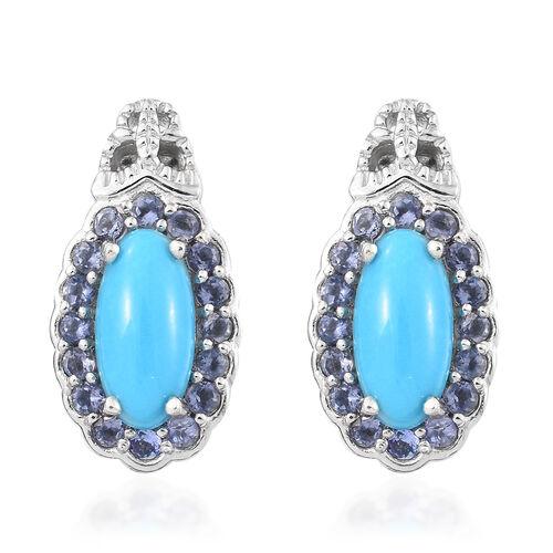 Arizona Sleeping Beauty Turquoise (Ovl), Iolite Earrings (with Push Back) in Platinum Overlay Sterli