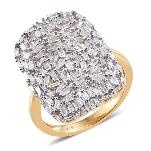 Diamond 14K Gold Overlay Sterling Silver Ring  1.005  Ct.