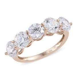 J Francis Made with Swarovski Zirconia 5 Stone Ring in 9K Gold 2.03 Grams