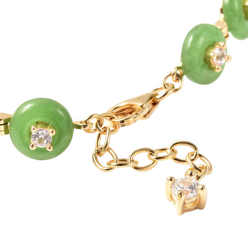 Green Jade and Natural Cambodian Zircon Bracelet (Size 7.5 with 1 inch Extender) in Yellow Gold Overlay Sterling Silver 36.71 Ct.