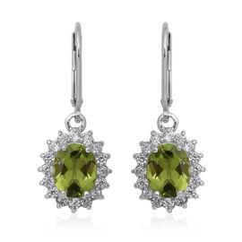 4.78 Ct Hebei Peridot and Zircon Halo Drop Earrings in Sterling Silver