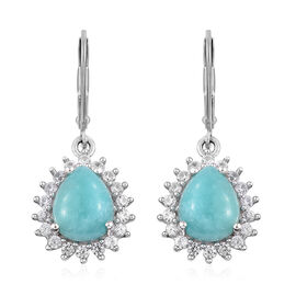 5.75 Ct Peruvain Amazonite Halo Earrings in Platinum Plated Sterling Silver With Lever Back