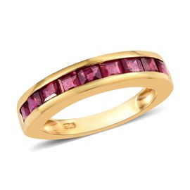 2 Carat African Ruby Half Eternity Band Ring in 14K Gold Plated Sterling Silver