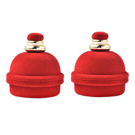 Set of 2 - Christmas Bell Velvet Ring Box in Red Colour with Tassel (Size 6x7cm)
