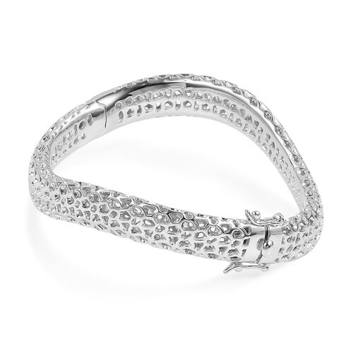 RACHEL GALLEY Rhodium Plated Sterling Silver Allegro Wave Bangle (Size 7.5), Silver wt 27.00 Gms.
