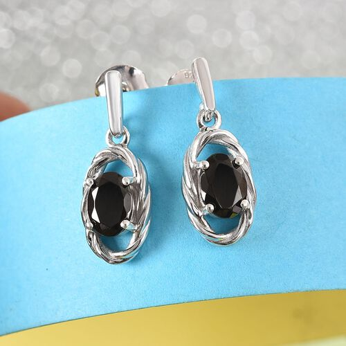 Elite Shungite Drop Earrings (with Push Back) in Platinum Overlay Sterling Silver 0.85 Ct.