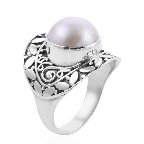 Royal Bali Collection - White Mabe Pearl Ring in Sterling Silver, Silver wt 5.79 Gms