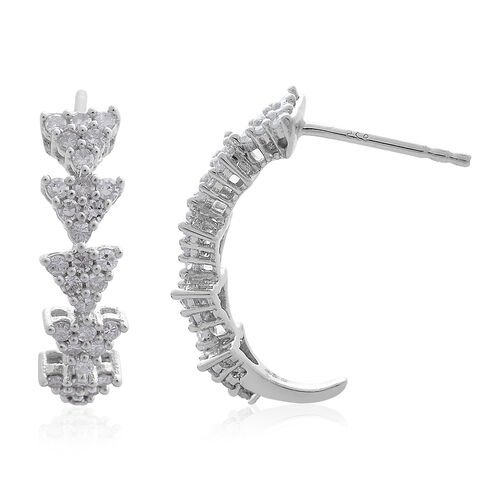 Natural White Diamond (Rnd) Earrings (with Push Back) in Platinum Overlay Sterling Silver 0.750 Ct.