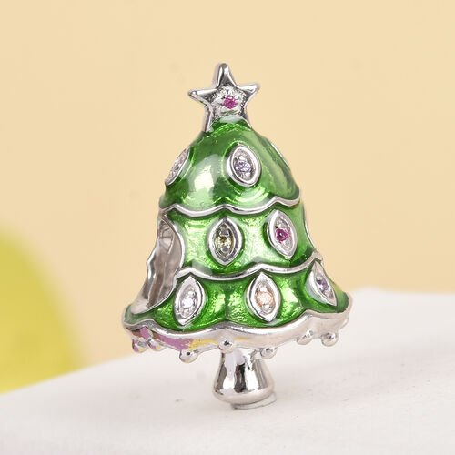 Simulated Yellow Sapphire and Multi Gemstone Enamelled Christmas Tree Charm in Platinum Overlay Sterling Silver