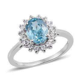 Blue Zircon (Ovl), Natural Cambodian Zircon Ring in Platinum Overlay Sterling Silver 2.250 Ct.