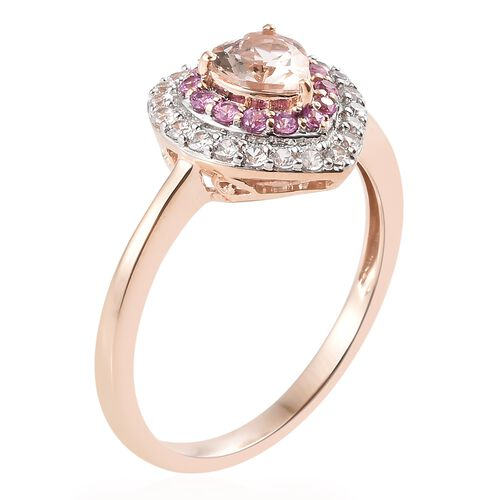 9K Rose Gold AAA Marropino Morganite (Hrt), Natural Cambodian Zircon and Pink Sapphire Ring 1.300 Ct.Gold Wt 3.30 Gms