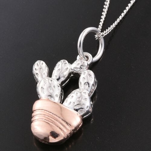 Silver Cactus Pendant with Chain in Platinum and Rose Gold Overlay Sterling, Silver wt. 3.95 Gms.