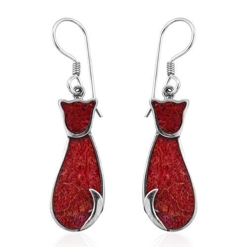 Royal Bali Sponge Coral Kitty Hook Earrings in Sterling Silver 4.54 Grams With Hook