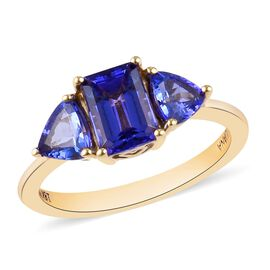 ILIANA 2 Carat AAA Tanzanite Trilogy Ring in 18K Gold