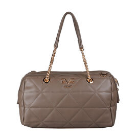 19V69 ITALIA by Alessandro Versace Quilted Pattern Crossbody Bag with Detachable Strap (Size 27x10x18cm) - Brown