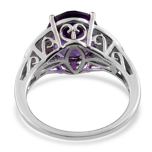 Lusaka Amethyst (Ovl 3.75 Ct), Diamond Ring in Platinum Overlay Sterling Silver 3.780 Ct.