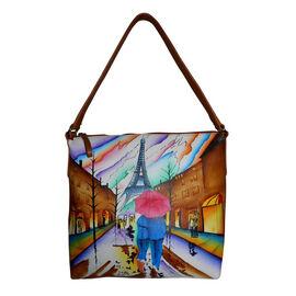 SUKRITI - 100% Genuine Leather Multi Colour Hand Painted Eiffel Tower Pattern Bag (Size 28x26.5x11.5 Cm)
