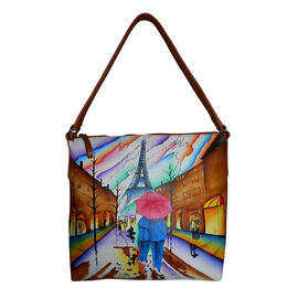 SUKRITI - 100% Genuine Leather Multi Colour Hand Painted Eiffel Tower Pattern Bag (Size 28x26.5x11.5