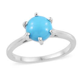 Arizona Sleeping Beauty Turquoise (Rnd) Solitaire Ring in Platinum Overlay Sterling Silver 1.00 Ct.