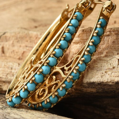 Arizona Sleeping Beauty Turquoise (Rnd) Hoop Earrings (with Clasp Lock) in 10.71gms 14K Gold Overlay Sterling Silver 1.500 Ct