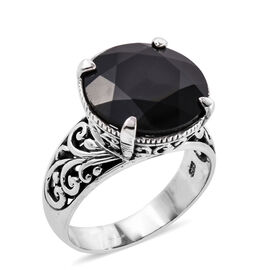 Royal Bali Collection Boi Ploi Black Spinel (Rnd 16 mm) Ring in Sterling Silver 15.660 Ct, Silver wt 5.80 Gms.