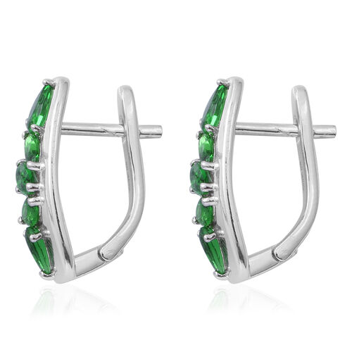 ELANZA Simulated Emerald (Pear and Mrq) Earrings (with Clasp Lock) in Rhodium Overlay Sterling Silver