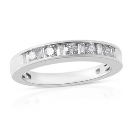 RHAPSODY 950 Platinum IGI Certified Diamond (Bgt and Rnd) (VS/ E-F) Band Ring 0.50 Ct, Platinum wt 6