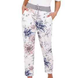 Nova of London Large Rose Flower Print Joggers in Cream (Size up to 16)