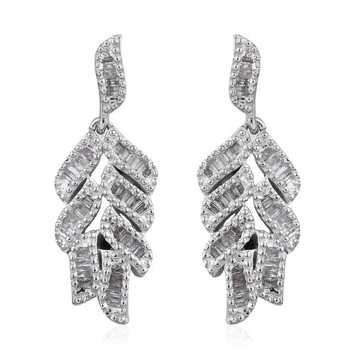 GP- Energy of Life Collection- Diamond (Bgt) Blue Sapphire Feather Earrings (with Push Back) in Plat