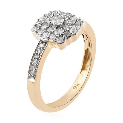 9K Yellow Gold SGL Certified Diamond (I2-I3/G-H) Ring 0.50 Ct.