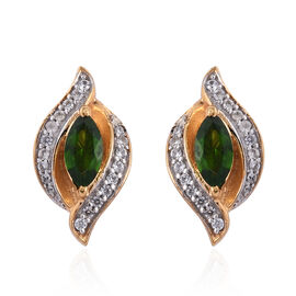 Russian Diopside (Mrq), Natural Cambodian Zircon Earrings (with Push Back) in 14K Gold Overlay Sterling Silver 2.00 Ct.