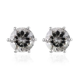Prasiolite (Rnd 9 mm) Stud Earrings (with Push Back) in Platinum Overlay Sterling Silver 5.250 Ct.