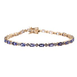 6.15 Ct AA Tanzanite and Diamond Tennis Style Bracelet in 9K Gold 7 Grams 7.5 Inch