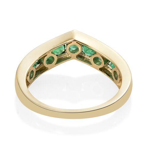 Limited Edition 9K Yellow Gold Premium Santa Terezinha Emerald (Rnd) Wishbone Ring 1.250 Ct.