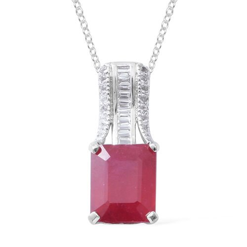 African Ruby (Oct 6.95 Ct), White Topaz Pendant With Chain (Size 18) in Rhodium Overlay Sterling Silver 7.290 Ct.