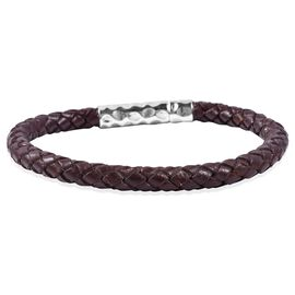 Genuine Leather Braided Bracelet in Sterling Silver 8.5 inch