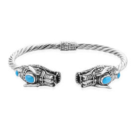 Royal Bali Collection - Arizona Sleeping Beauty Turquoise (Ovl 7x5mm) Dragon Head Bangle (Size 7.5)