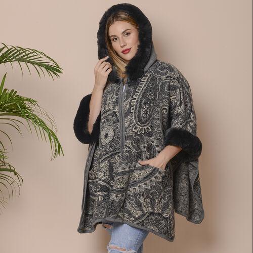 Last Chance-Dark Grey and Black Colour Faux Fur Hat Cape with Cashew Flower Pattern (Size 124.46 x 78.74 Cm)