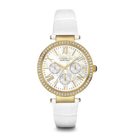 CARAVELLE Gold Tone Dial Ladies Watch with White Leather Strap