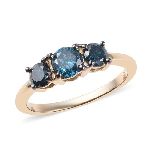 9K Yellow Gold Blue Diamond (Rnd) Trilogy Ring 1.01 Ct.