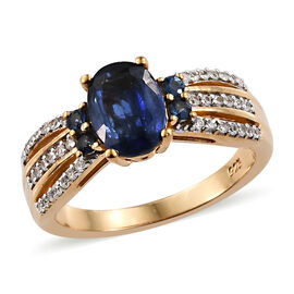 Kashmir Blue Kyanite (Ovl), Natural Cambodian Zircon and Royal Ceylon Sapphire Ring in 14K Gold and