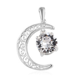 J Francis - Crystal from Swarovski White Colour Crystal (Rnd) Crescent Moon Pendant in Sterling Silv