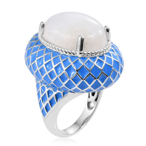 Sri Lankan Rainbow Moonstone (Ovl) Blue Colour Enameled Ring in Platinum Overlay Sterling Silver 18.000 Ct. Silver wt. 16.50 Gms.