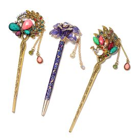 Multicolour Austrian Crystal Enamelled Hairpin Stick with Tassel (Butterfly, Flower and Peacock)